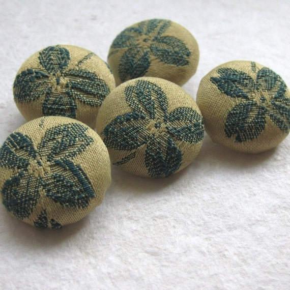 5 Mustard and Teal Handmade Buttons