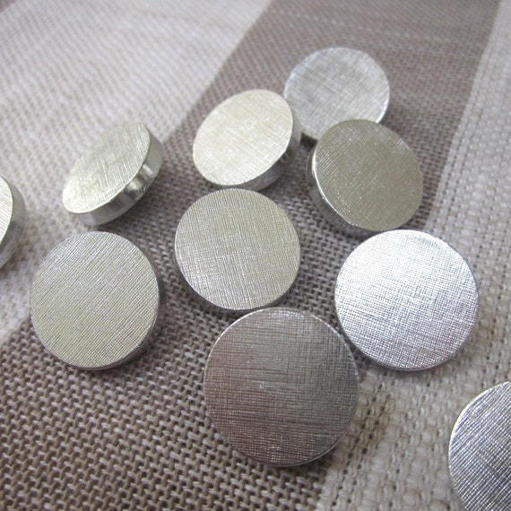 10 Medium Chunky Brushed Silver Buttons
