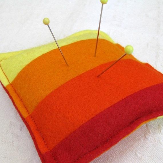 Red Rainbow Striped Felt Pincushion