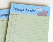 magnetic to do list notepad, illustrated, cute, check list, note, memo, cat, mouse, green