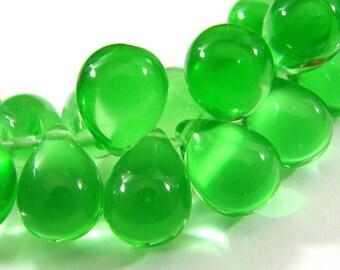 Clear Peridot Green 10x14mm Czech Glass Teardrop Beads 10 GT905