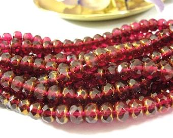 Deep Red Fuschsia  Copper  Luster Czech glass Donut Rondelle beads, 5x7mm, 25 pcs, GRL336