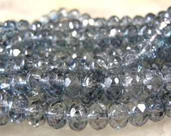 25 Transparent BLUE  FIREPOLISHED  Czech glass Rondelles 6x4mm Beads GRL301