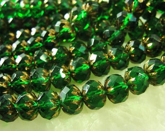 EMERALD GREEN  Copper Capped Czech Glass Beads10x7mm  rondelles,  One Strand, of 27 beads GRL308
