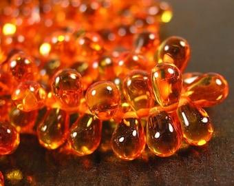 25 pcs Fire Opal Czech Glass Beads, transparent, beautiful beads,   7x5mm Teardrop LB356