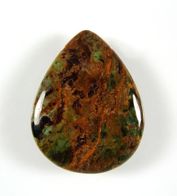 35x45mm green opal gemstone teardrop pendant bead 4450p
