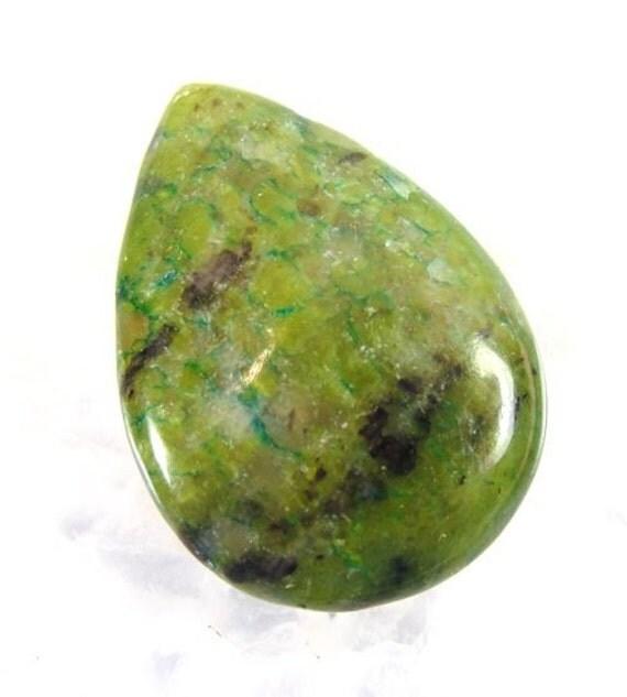 25x18mm GREEN JASPER GEMSTONE Teardrop Briolette Pendant Focal Bead