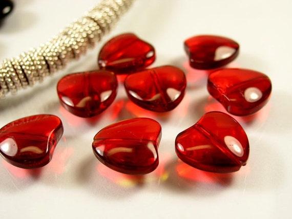 Ruby Red transparent Heart Czech glass beads 8pcs