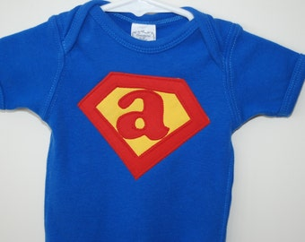 Custom initial superman tshirt or onesie by tutees on etsy for Make your own superman shirt