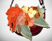Handmade Bouquet Saddle bag in Burgundy leather with autumnal bouquet