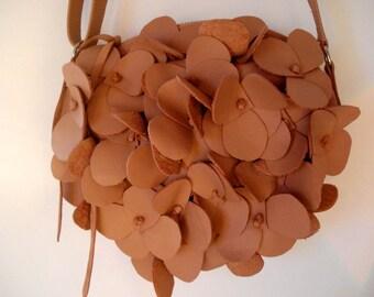 Handmade Hydrangea Bag in peach Leather