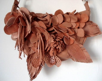 Handmade Bouquet Crescent Bag in Peach leather and suede