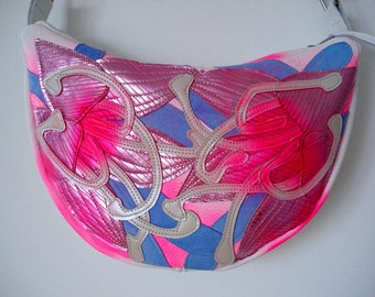 Handmade Crescent Bag in white with rose foil spraypainted Lilies