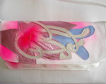 Handmade Large Sh strap Clutch in white leather with rose metallic spraypainted Lily