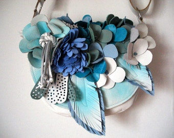White Bouquet Saddle with aqua spraypaint