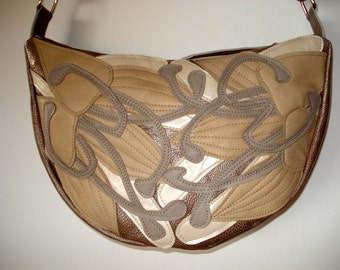 Handmade Crescent Bag in Oyster Shagreen leather with beige appliqued Lilies