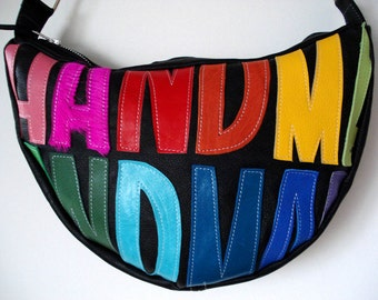 HANDMADE Crescent Bag in black leather with Rainbow applique