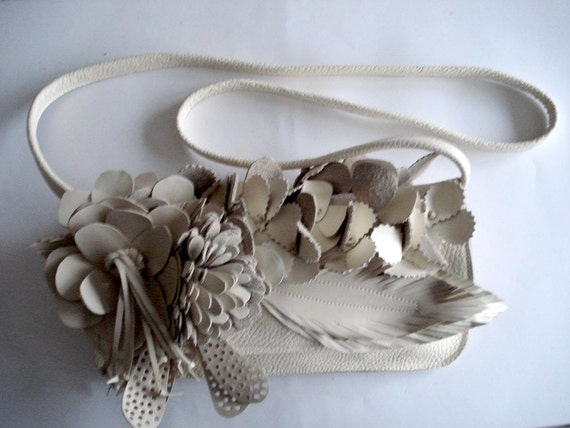 Handmade large cream Bouquet Clutch with shoulder strap