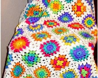 Crochet Pattern Retro Granny Afghan Instant Download PDF Crochet Pattern White Bright Colors