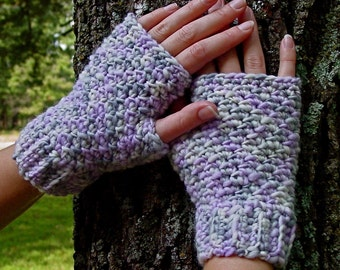 Crochet Pattern Diana Chunky Tweed Fingerless Gloves Instant Download PDF Crochet Pattern