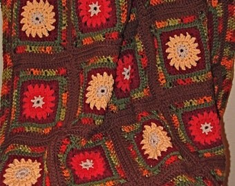 Crochet Pattern PDF Pattern for Fall Mums Afghan
