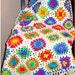 Crochet Pattern Retro Granny Afghan Instant Download PDF Crochet Pattern White Bright Colors