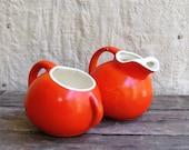 Reserved for Sandy - 30% OFFSALE  - Vintage 1930s Ceramic Cream and Sugar Set ORANGE RED