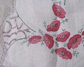 SALE // vintage c. 1940s hand painted linen doily