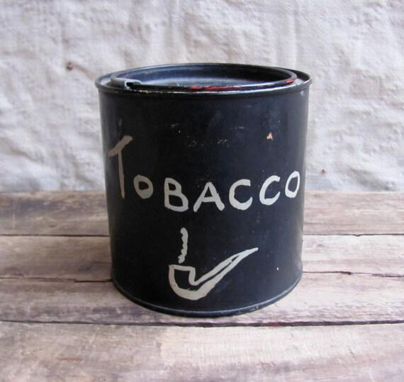 vintage c. 1930s hand painted tobacco tin // folk art