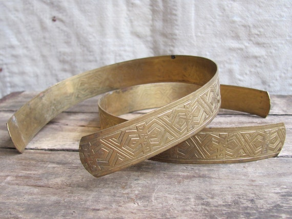 RESERVED for Valery // vintage 1920s wide brass headband // Art Deco Grecian engraved metal