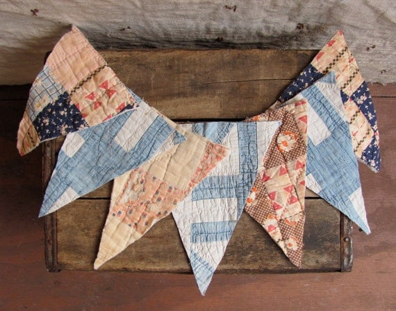 vintage 1930s Depression Era quilt scraps bunting flags // rare denim patchwork (collection 2)