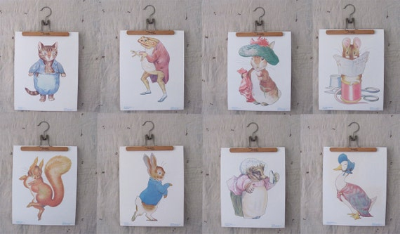 reserved for biancaab // vintage c. 1960s set of 8 large prints // Beatrix Potter characters // Peter Rabbit and friends