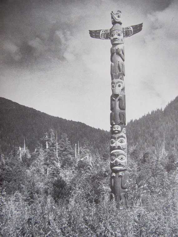 vintage 1960s book // Monuments in Cedar - The Authentic Story of the Totem Pole