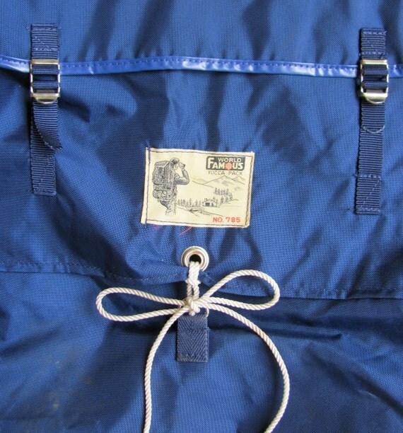 "vintage c. 1960s-1970s ""World Famous Yucca Pack No. 785"" // navy nylon Japan"