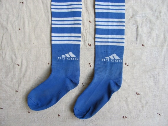 SALE // vintage c. 1980s Adidas knee socks // blue and white stripe