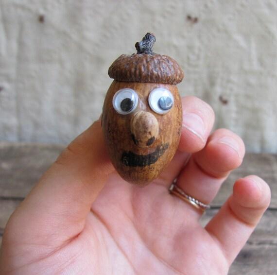 vintage acorn brooch with googly eyes