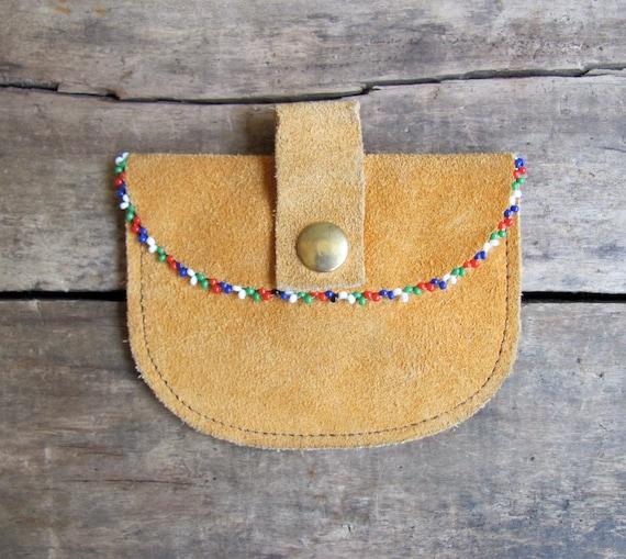 SALE // vintage c. 1970s beaded suede belt bag