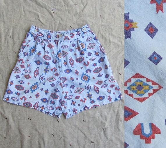 vintage 1980s high waisted shorts // white geometric / Navajo inspired print