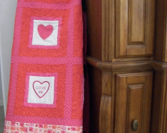 Girls Sweetheart  Quilt 47 Inches Square