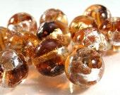 Murano Venetian Round Glass bead - 12mm Topaz with gold silver aventurine (1)