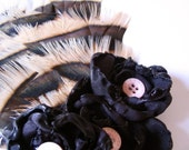 Hair Fascinator -- Golden feathers with pink buttons