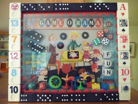 Game O Rama Vintage Party Room Shadow Box  OOAK