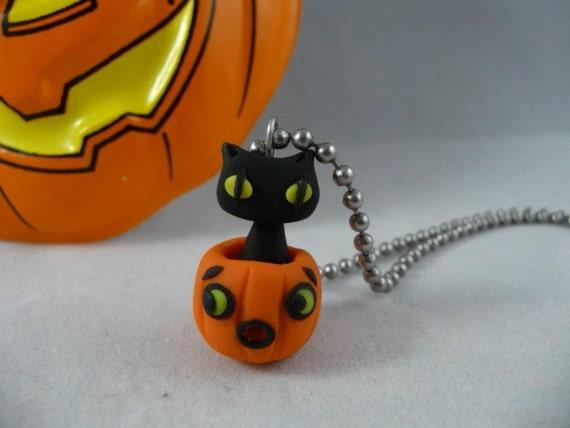Black Kitty in a Pumpkin Necklace