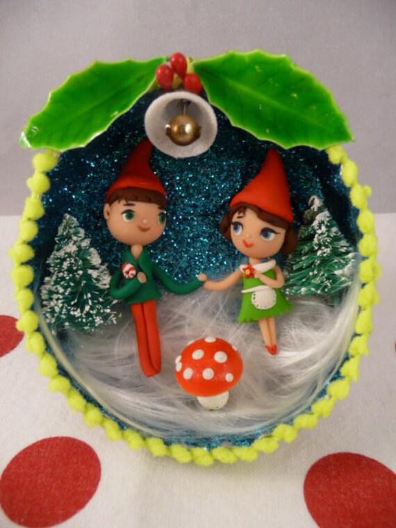 OOAK Winter Wedding Gnome Cake Topper Keepsake Ornament