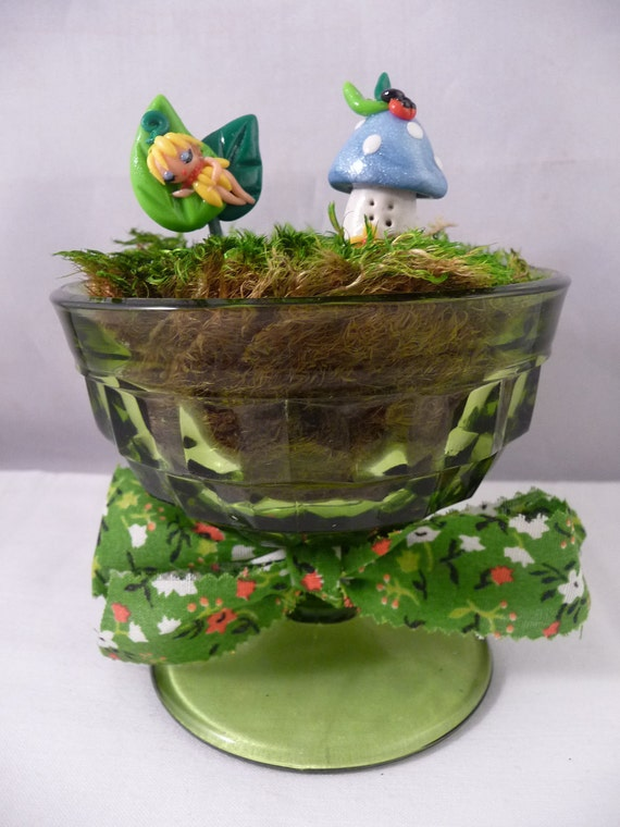 Sleeping Fairy and Mushroom House Polymer Clay Terrarium Picks