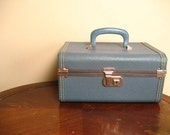 Vintage Grey Blue Box Style Train Case with Contrast Stitching