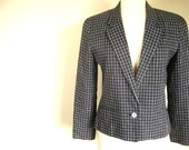 Vintage Liz Claiborne Black and White Plaid Cropped Fitted Jacket-size 10