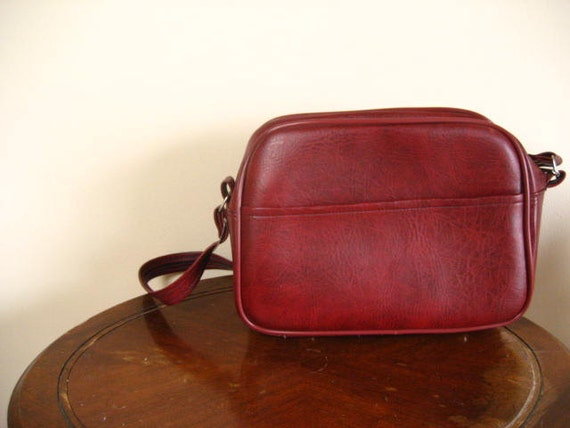 Vintage Bordeaux Red Large Overnight Travel Bag