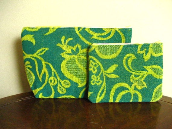 2pc Toiletry and Cosmetic Zipper Pouch Set- One of a Kind- Turquoise and Yellow Floral