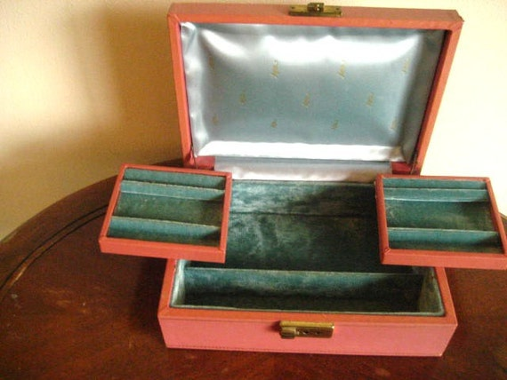 Vintage Pink Jewelry Box with Slide Out Compartments